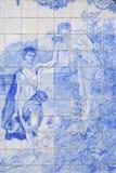 在Estoi宫殿,阿尔加威,葡萄牙的庭院的老azulejo瓦片 库存照片