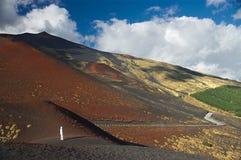 在Etna的倾斜,意大利,西西里岛 免版税库存图片