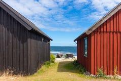 在Fårö海岛,瑞典上的渔村 免版税库存照片