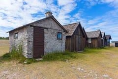 在Fårö海岛,瑞典上的老渔村 免版税库存图片