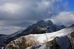 在Fagaras山的第一雪 免版税库存照片