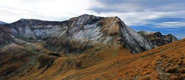 在Fagaras山的Moldoveanu峰顶,罗马尼亚 库存照片