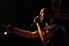 在Faktoria d'Arts的Delafe y拉斯弗洛雷斯Azules (带)音乐会棍打 免版税图库摄影