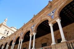 在Famous Plaza de西班牙-西班牙正方形的大厦在塞维利亚,安大路西亚,西班牙 免版税图库摄影