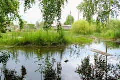 在farmer& x27前面的一个小池塘; s房子 库存照片