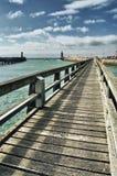 在Fecamp,诺曼底,法国港的走道  图库摄影