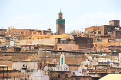 在Fes,摩洛哥麦地那的看法  免版税库存图片