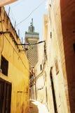 在Fes,摩洛哥,非洲麦地那的看法  图库摄影