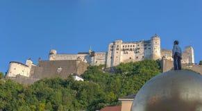在Festungsberg山坡的Hochensalzburg城堡 免版税库存照片