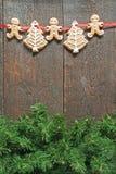 在fi黑暗的背景绘的丝带的姜饼曲奇饼  库存图片
