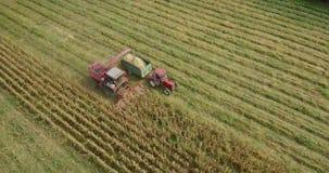 在fieldon的玉米收获和拖拉机空中英尺长度与组合的领域 股票录像
