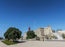 在figueira da福兹葡萄牙的圣卡塔琳娜州老堡垒地标 免版税库存照片