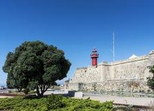 在figueira da福兹葡萄牙的圣卡塔琳娜州老堡垒地标 库存照片