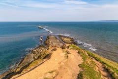 在Filey布里格,英国的约克夏海岸 免版税库存图片