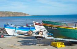 在Filey的渔船 免版税库存图片