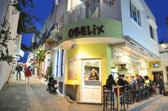 在Fira,圣托里尼,希腊的夜 免版税图库摄影