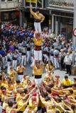 在fira arrop巴达洛纳的Castellers 库存照片