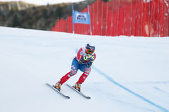 在FIS高山滑雪世界杯-第3个人的SUPER-G的GANONG特拉维斯 库存照片