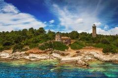 在Fiscardo, Kefalonia的灯塔 免版税库存照片
