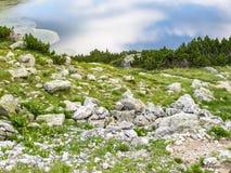 在Fish湖的天空反射浇灌表面,七个Rila湖, Rila山,保加利亚 免版税图库摄影