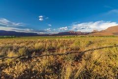 在Fisher Mesa的铁丝网日落 库存照片