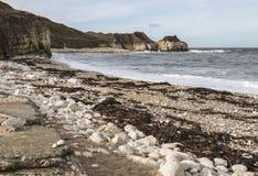 在Flamborough陆岬的Thornwick海湾在约克夏,英国 免版税库存照片