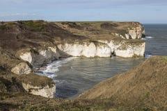 在Flamborough头,约克夏,英国的剧烈的峭壁 库存图片