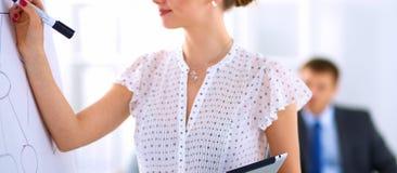 在flipchart的女实业家文字,当给介绍同事在办公室时 图库摄影