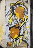 在Florentin邻里的墙壁上的艺术在特拉维夫的南部 免版税图库摄影