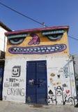 在Florentin邻里的墙壁上的艺术在特拉维夫的南部 免版税库存照片