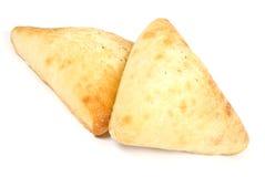 在focaccia查出的白色上添面包 库存照片