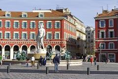 在Fontaine du Soleil在尼斯,法国的阿波罗 图库摄影