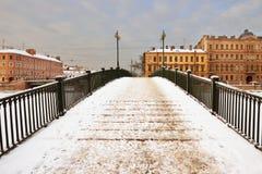 在Fontanka的Krasnoarmeisky桥梁 图库摄影