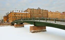 在Fontanka的Krasnoarmeisky桥梁 免版税库存照片
