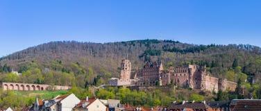 在Forest Hills背景的城堡废墟 免版税库存照片