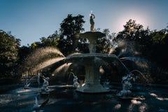 在Forsyth公园的喷泉,大草原的,乔治亚 库存图片