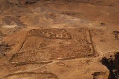 在fortess马萨达附近的罗马阵营 库存照片