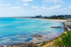 在Frankston,墨尔本端起腓力普海湾和海滩 免版税库存照片