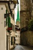在Fraumunster教会,四个主要教会之一的看法在苏黎世 库存照片