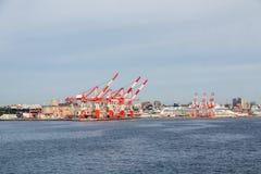 在Frieght港口之外的Cruie船 免版税图库摄影