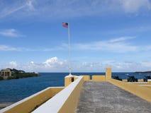 在Ft上面的旗子 Christiansted 免版税库存图片