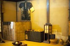 在Fukagawa伊多博物馆的古老陈列 库存照片
