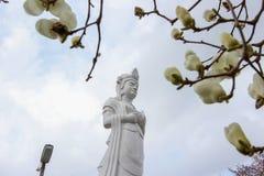 在Funaoka城堡废墟公园,柴田, Tohoku,日本山顶的Funaoka和平Kannon  免版税库存图片