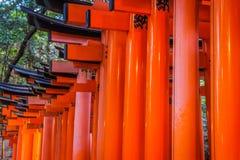在Fushimi Inari寺庙寺庙的红色花托门在京都,日本 库存图片