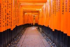 在Fushimi Inari寺庙的多个托里尔门 库存照片