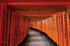 在Fushimi Inari寺庙的红色花托门在京都,日本 库存照片