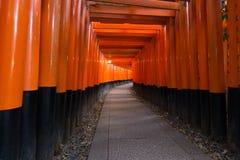 在Fushimi Inari寺庙,京都,日本的Torii门 免版税库存照片