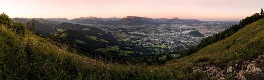 在Gaisberg的日出在萨尔茨堡,奥地利 免版税库存图片