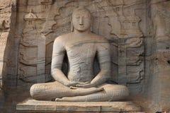 在gal vihara斯里兰卡的菩萨雕象 免版税库存照片