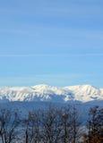 在Galicica山的第一雪 普雷斯帕湖,马其顿 库存图片